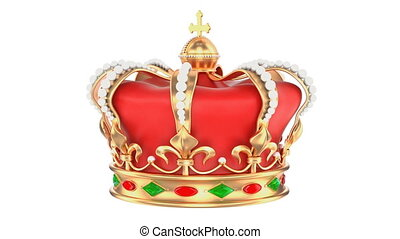 Royal Crown rotating, 3D rendering