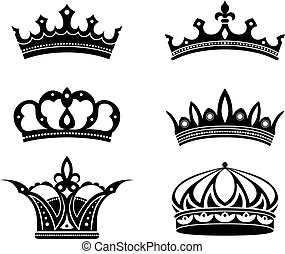 Royal crowns and diadems set. Vector illustration