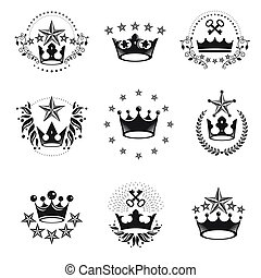 Royal Crowns emblems set. Heraldic Coat of Arms decorative logos isolated vector illustrations collection.
