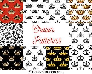Royal crowns seamless patterns