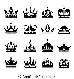 Royal crowns vector illustration set in black
