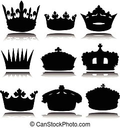 royal crowns vector silhouettes