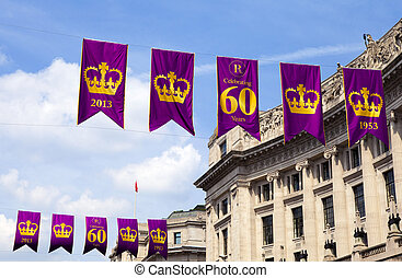 Banners in central London to commemorate the Royal Diamond Jubilee.