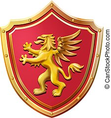 Royal emblem red shield gold griffin vector illustration