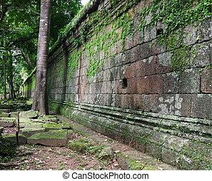 Royal enclosure and Phimeanakas temple wall. Angkor, Siem ...