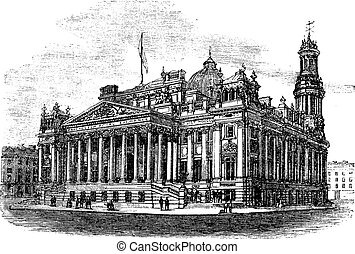 Royal Exchange in Manchester England vintage engraving