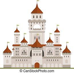 Royal family castle with guard walls, main palace