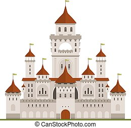 Royal family residence symbol of grey stone castle with guard walls and main palace with towers, arched terraces and conical turrets with green flags. Medieval architecture and traveling themes design