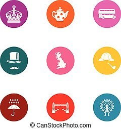 Royal family icons set, flat style