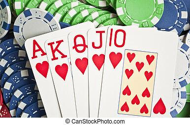 Royal flash on poker chips