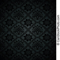 Royal floral black wallpaper