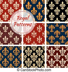 Royal flower fleur-de-lis vector patterns set