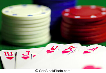 Royal Flush - Cards and Poker Chips