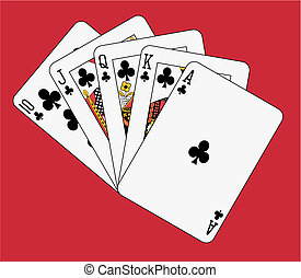 Royal flush club on red background