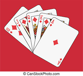 Royal flush diamond on red background