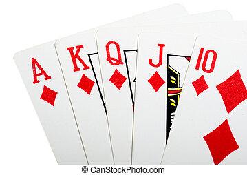 Royal flush diamonds for poker closeup