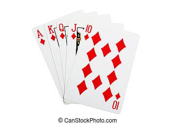 Royal flush diamonds for poker