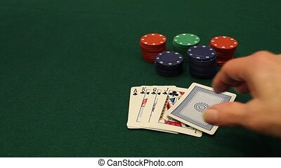 royal flush - player goes all in after being dealt a royal...