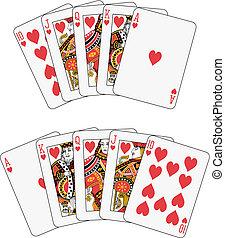 Royal flush heart two different arrangements