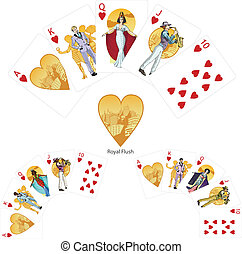 Royal Flush Hearts poker winning combination Mafia card set...