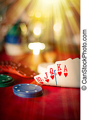 Royal Flush - Heavenly light illuminates a winning hand in...