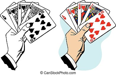 Royal Flush - A hand holding a royal flush group of playing...