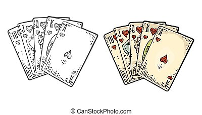 Royal flush in hearts. Playing cards poker. Vector black and color vintage engraving illustration for poster, label, banner, web. Isolated on white background