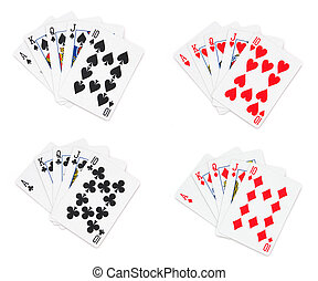 Royal flush in isolated white