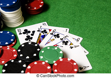 Royal Flush in poker - royal flush of shamrocks between...