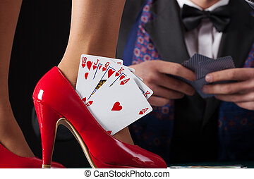 Royal flush in woman's high heels - Royal flush in woman's...
