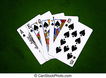 Royal Flush of Spades over a green grungy background