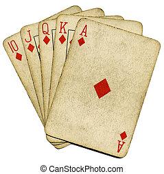 Royal flush old vintage poker cards isolated over white.