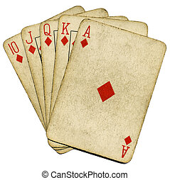 Royal flush old vintage poker cards isolated over white.