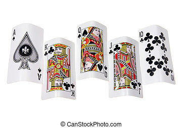 Royal Flush on White Background