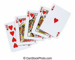 Royal flush. Playing cards isolated on a white background