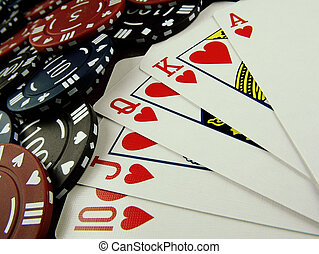 Royal Flush - Royal flush poker hand and chips