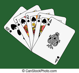Royal flush spade on green background