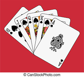 Royal flush spade on red background