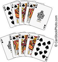 Royal flush spade two different arrangements