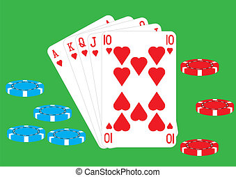 Royal Flush - A Royal Flush Ace King Queen Jack and Ten of...