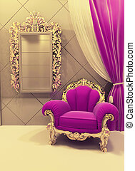 Royal furniture in a luxurious interior, pink pattern -...