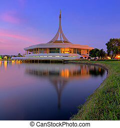 Hall Ratchamongkhon Suan Luang Rama 9 Park and Botanical Garden is the largest in Bangkok at twilight.