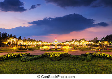 Hall Ratchamongkhon, Suan Luang Rama IX Park To celebrate the birthday of the King of Thailand. With decorative lighting Twilight time.