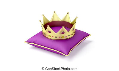 Royal gold crown on purple pillow