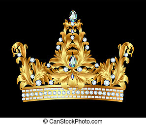 royal gold crown with jewels - illustration of royal gold...