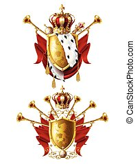 Royal golden crowns, fanfares, scepter and orb - Royal...