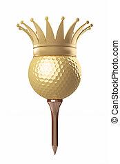 royal golf ball on a tee