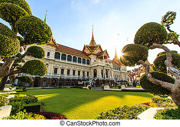 royal, grand palais, phra, kaeo, dans, bangkok, asie,...