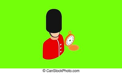 Royal guard icon animation cartoon best object on green screen background