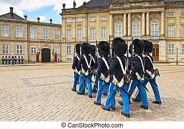 Royal Guard in Amalienborg Castle in Copenhagen, Denmark
